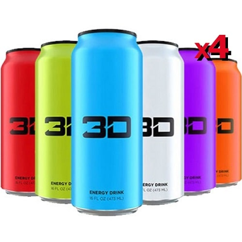 3D ENERGY - 3D ENERGY DRINKS - 473 ml (pack of 4) Pre Workout