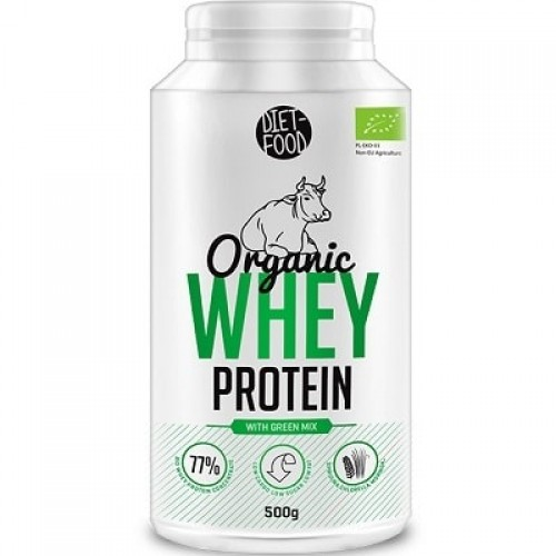 DIET FOOD ORGANIC WHEY PROTEIN - 500 g with green mix Organic / Wellbeing