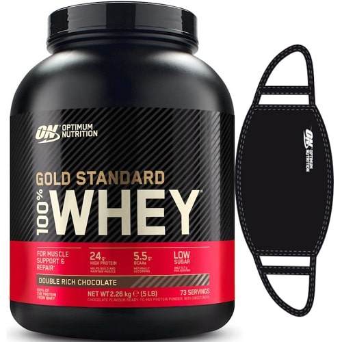 OPTIMUM NUTRITION GOLD STANDARD 100% WHEY - 2270 g + FREE FACE MASK Protein Powder