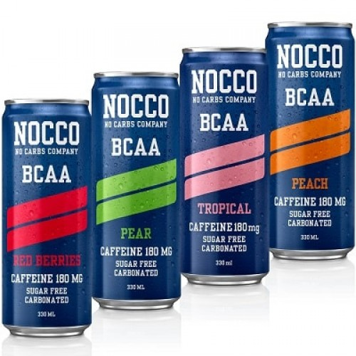 NOCCO BCAA WITH CAFFEINE - 330 ml (Pack of 12) BCAA Supplements