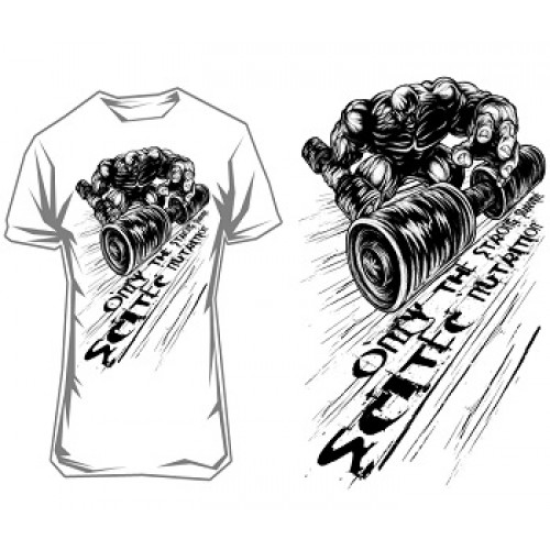 """SCITEC NUTRITION T-SHIRT """"ONLY THE STRONG SURVIVE"""" - White Clothing"""