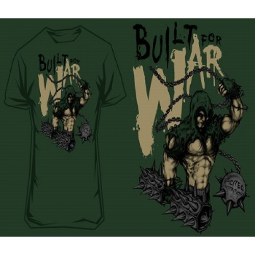 """SCITEC NUTRITION T-SHIRT """"BUILD FOR WAR"""" 2 - Green Clothing"""