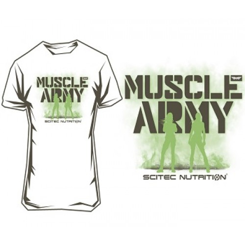 """SCITEC MUSCLE ARMY WOMEN T-SHIRT """"WHITE"""" - White Clothing"""